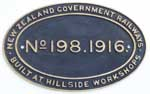Neuseeland, New Zealand Government Railways: Nr. 198, Baujahr: 1916. Messingguss oval. BxH= 440 x 275 mm.